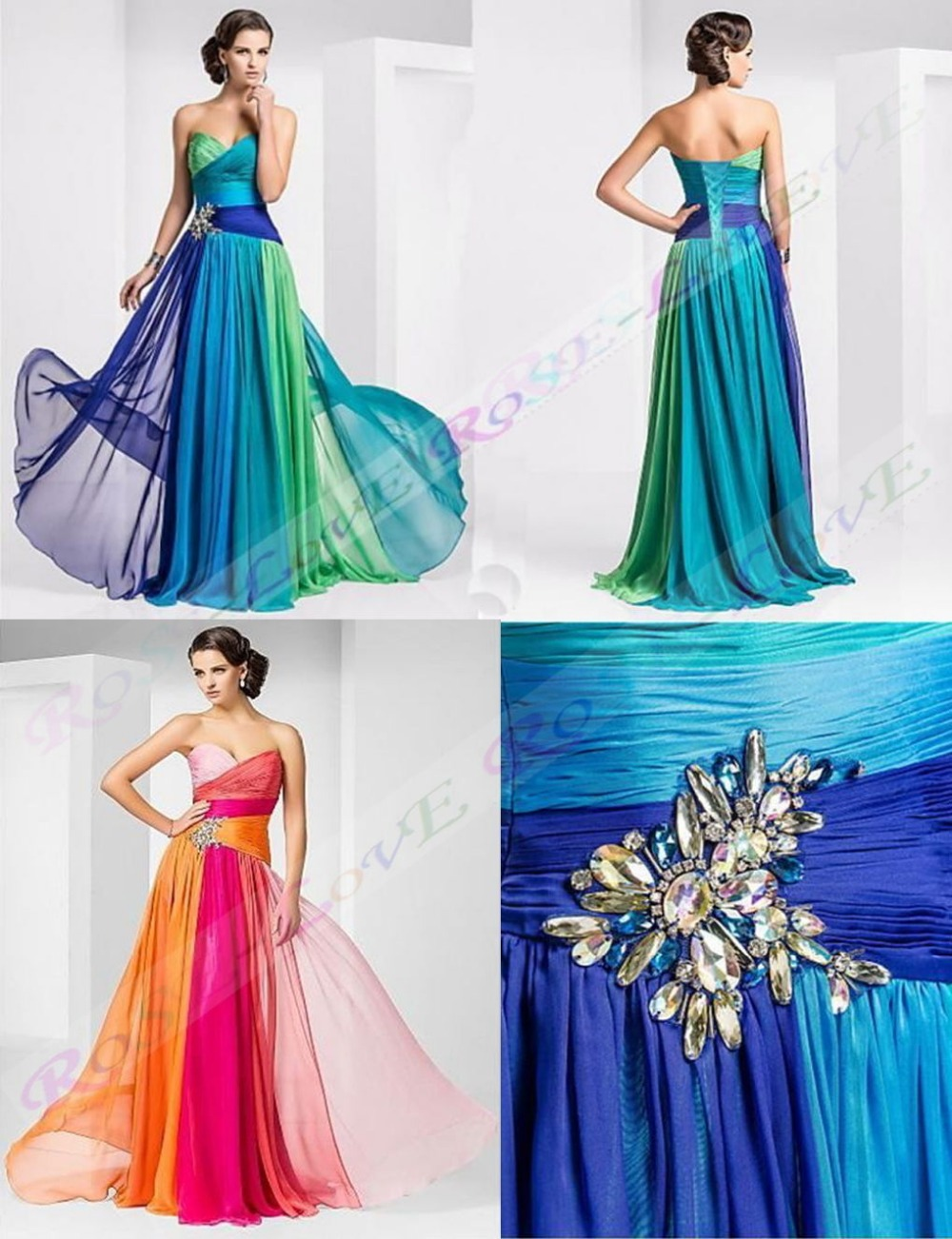 Floor length chiffon long prom dress gown 2015 new fashion for Pink and orange wedding dresses