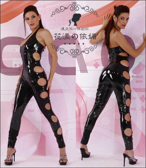 S-XXL Plus Size Women Sexy Hollow Out Black Faux Latex Catsuit Synthetic Leather Lingerie PVC Leotard Clubwear Bondage Bodysuit(China (Mainland))