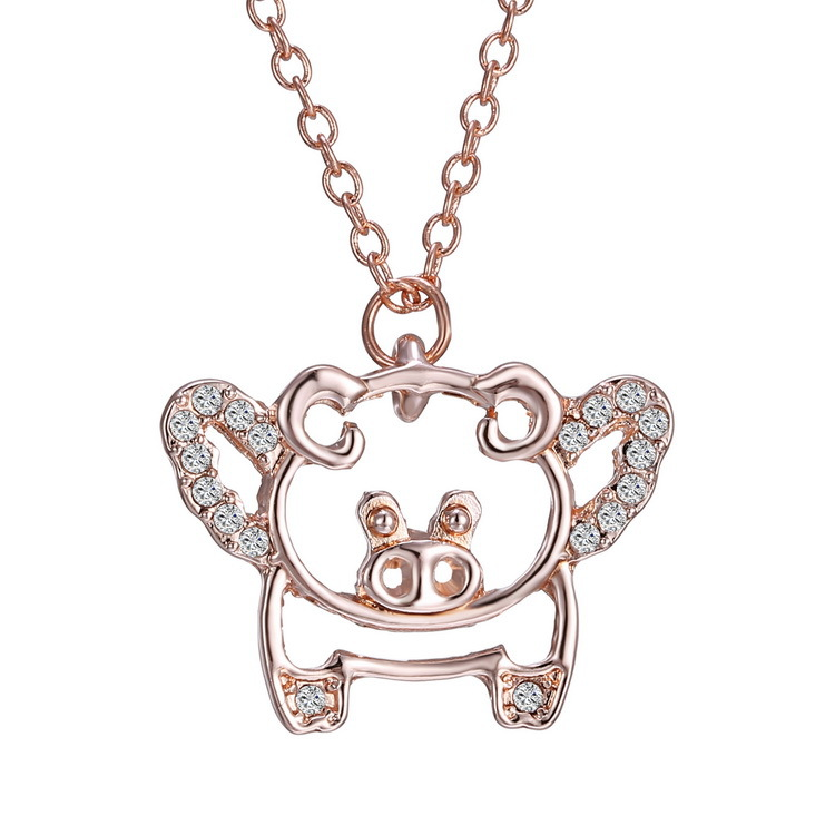 2016 Summer New Fashion Jewelry Lovely Animal Rose Gold Pig Rhinestone Pig Necklace for Women Fine Jewelry Chain Necklace(China (Mainland))