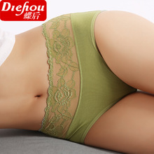 Free Shipping Ms non-trace modal in the waist lace briefs tall waist sexier than cotton SIZE M L-XXXL #7177R2(China (Mainland))