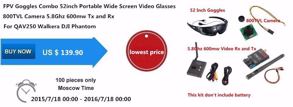 FPV Goggles System 52inch Portable Wide Screen 800TVL Camera 5.8Ghz 600mw Transmitter Receiver For QAV250 Walkera DJI Phantom 5