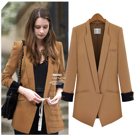 Fashion Casual Blazer Women European Style Slim Office Work Wear Outerwear Khaki Black Spring