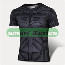 Marvel Super Heroes Avenger Captain America Batman sport T shirt Men Compression Armour Base Layer Thermal