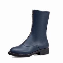 WETKISS Kalın Topuklu Düşük Çizmeler Kadın Orta Buzağı Rahat Çizme Yuvarlak Burunlu Motosiklet Ayakkabı Kadın Pu Zip Ayakkabı Bayanlar 2020 Yeni Sarı(China)