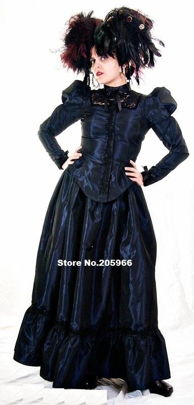 custom made plus size steampunk taffeta and black lace