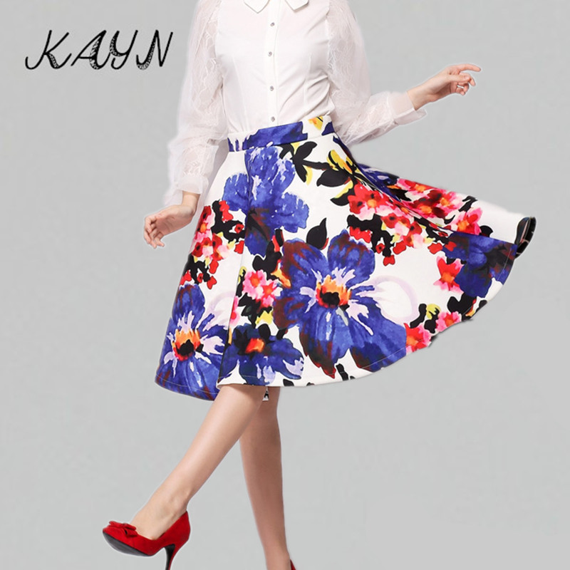 Brand New Autumn Spring Women Floral Skirt Elegant European style Ladies High Waist Line Knee Length Skirts Saia Midi Feminina - KAYN Boutique Clothing store