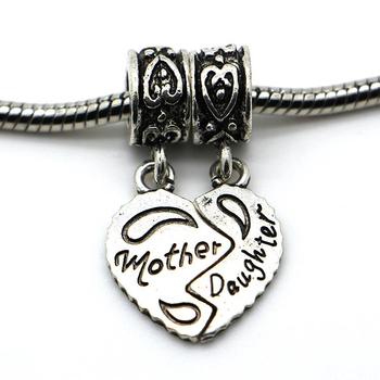 1 шт. бесплатная доставка 925 мычка бусины женщин Diy мать и дочь в форме сердца ...