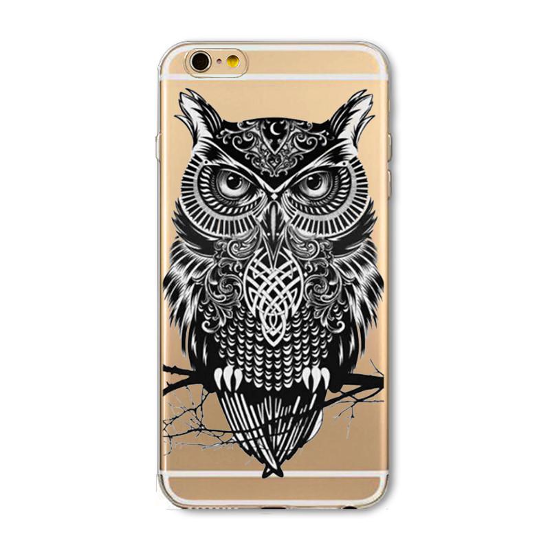 Phone Case For Apple iPhone 4 4S 5 5S SE 5C 6 6S 6Plus 6s Plus Soft TPU Silicon Transparent Thin Cover Cute Cat Owl Animal Case