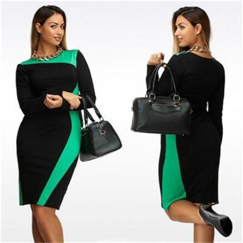 L - 6XL Plus Size Bandage Dress Slim Show Thin 2016 The New Summer/Autumn Elegant Casual Women Dresses Extra Large Hot Sale(China (Mainland))