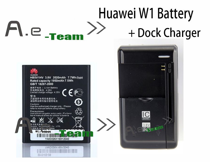 LOT 1PC Desk Dock Charger 1pc Huawei W1 Battery W1 C00 100 New Original 2020mAh bateria
