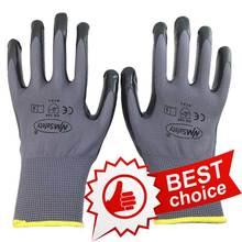 NMSafety 13 gauge nylon nitrile dipping work gloves/nitrile working glove/Nylon knitted nitrile Palm gloves 12pcs=6pairs(China (Mainland))