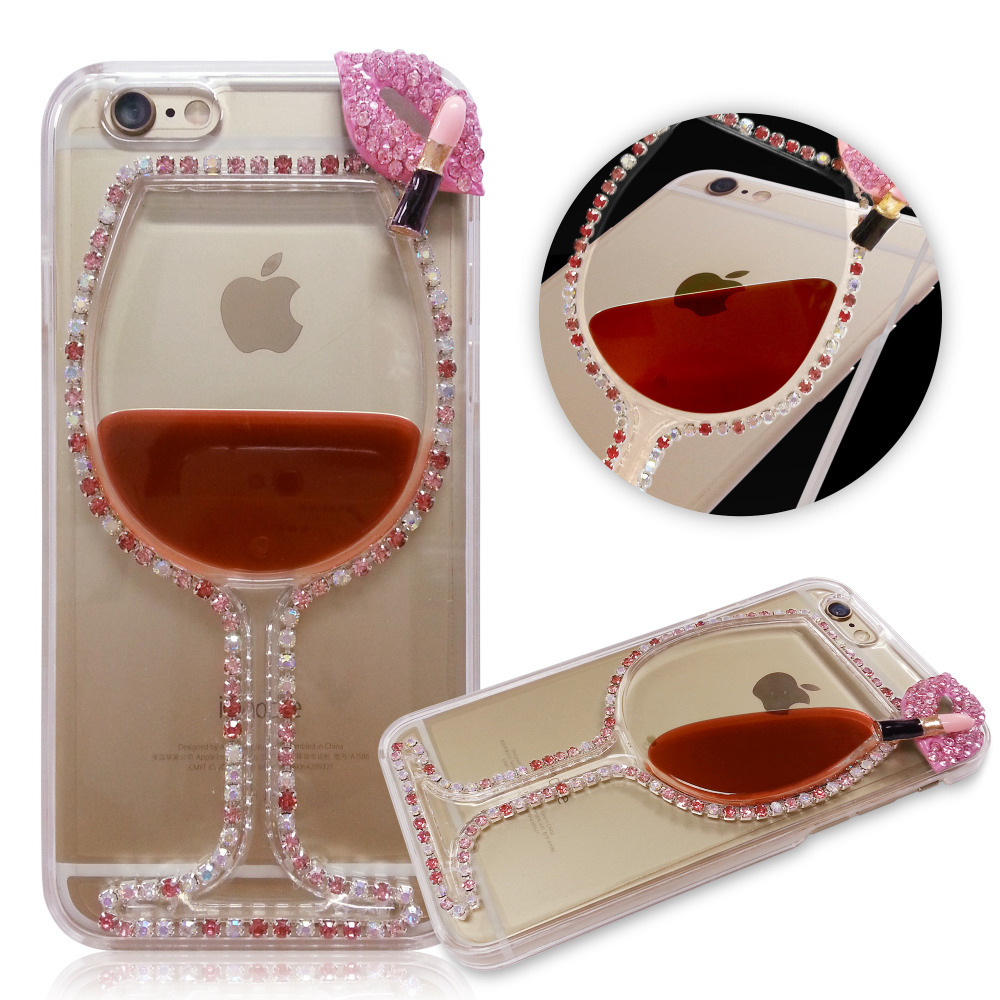 3D Liquid Red Wine Cup with Bling Crysta Chain and Lips Back Phone Case Cover Shell for iPhone 5 5s 6 6 plus(China (Mainland))