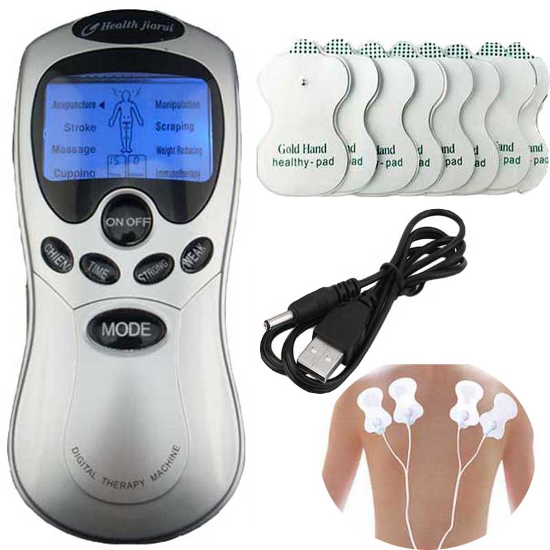 Electric body massager Slimmming pulse Tens Acupuncture Therapy Machine Pulse Foot Body Sculptor Massager +8 Pads Health Care(China (Mainland))