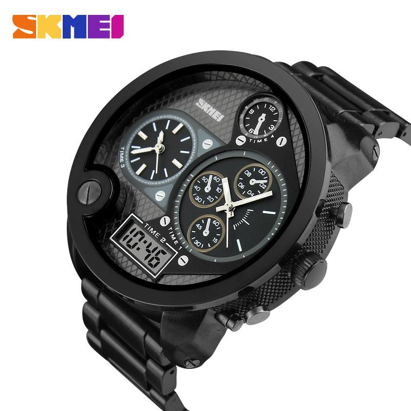 Top Men Watches Luxury Brand Men's Quartz Hour Analog Digital LED Stainless Full Steel Watch Sports Military Wrist Watch(China (Mainland))