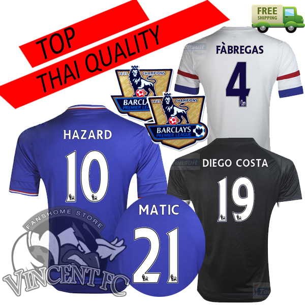 Chelsea 2016 Jersey soccer HAZARD 10 HOME AWAY WHITE 15 16 Chelsea Jerseys third 3rd away black DIEGO COSTA FABREAGS shirt  (China (Mainland))
