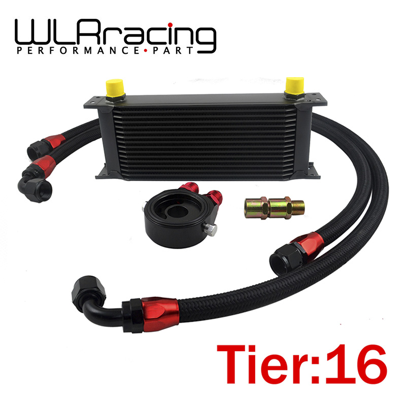 WLR STORE- UNIVERSAL 16 ROWS OIL COOLER+OIL FILTER SANDWICH ADAPTER BLACK + SS NYLON STAINLESS STEEL BRAIDED AN10 HOSE(China (Mainland))