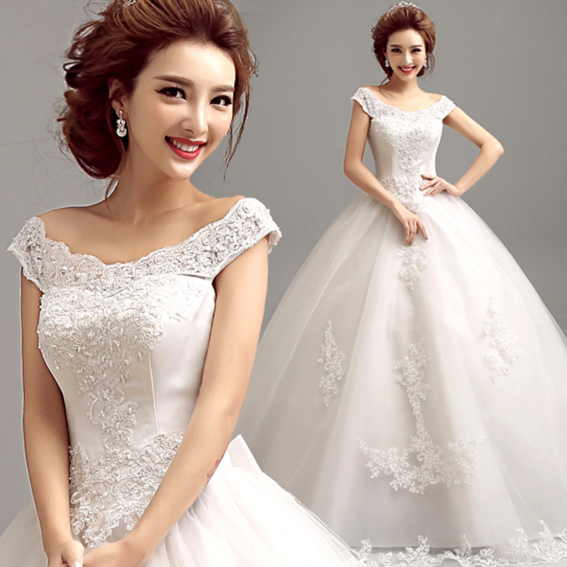 fashionable word shoulder v neck lace colorful carpet ball gown wedding dress 2016 zkc uncle 5956