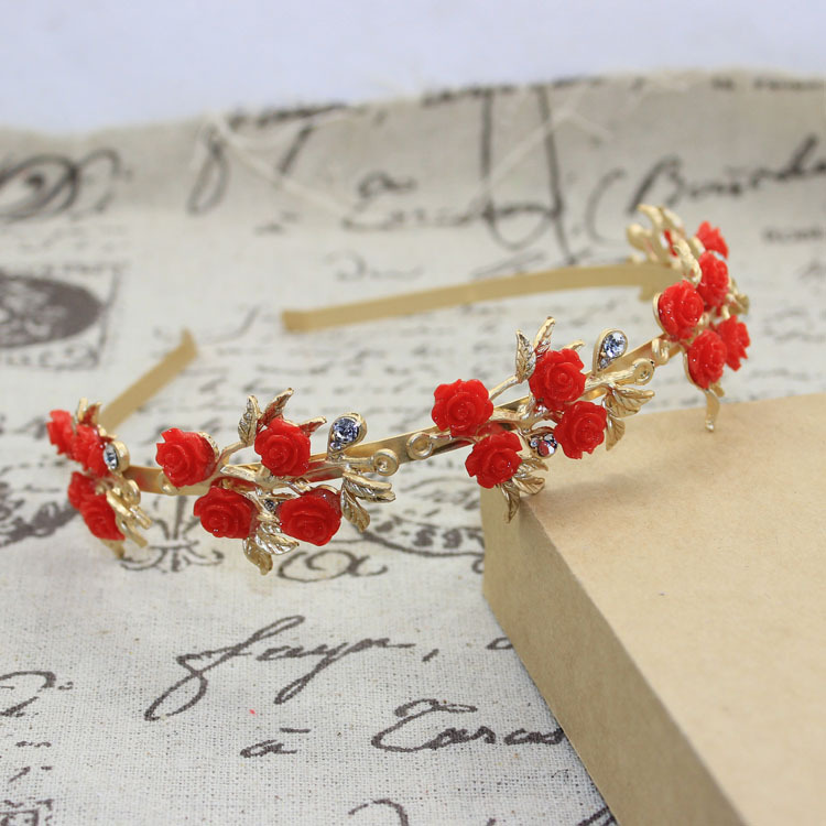 Retro Golden leaves Red roses Rhinestone Headbands Baroque metal crystal hairband women crown tiaras jewelry(China (Mainland))