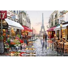 DIY 5D Алмазная вышивка Париж улицы со стразами и квадратной Набор для рисования с круглыми камнями и полотном, вышивка крестиком на рисунке, к...(China)