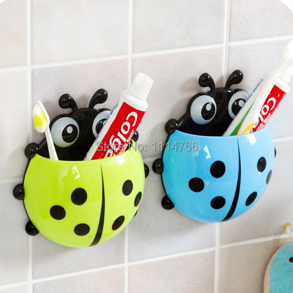 1x New Cute Funny Cartoon Yellow/Red/Blue/Green Ladybug Sucker Suction Hook Tooth Brush Holder irjg - Feng Hao Han Store store