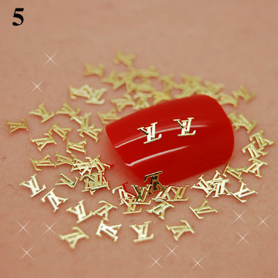 #5 Free shipping!!!800pcs/lot Golden Charm Metal Slice 3D DIY Design Decor Acrylic Nail Art Cellphone Cover Craft Decorations(China (Mainland))