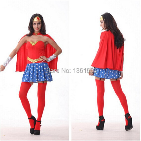 Comic book hero Wonder woman clothing Star guard role play super women suit Halloween adult cosplay party Cos(China (Mainland))
