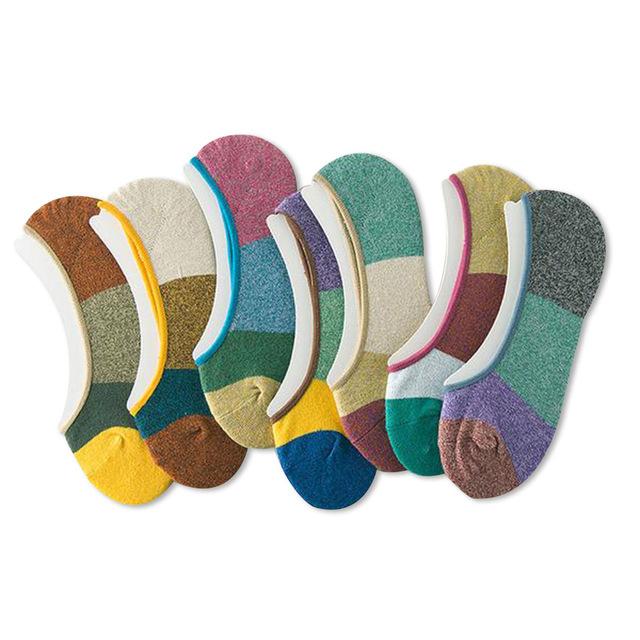 Хит цвет мужские носки весна лето случайные удобные дышащий хлопок невидимый силиконовый ...