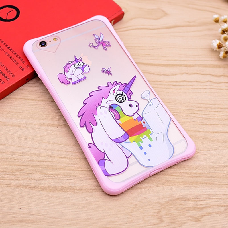 2016 New Clear Cute cartoon Case For Apple iphone 6 6s 4.7 Back coque case cartoon unicorn phone cases covers