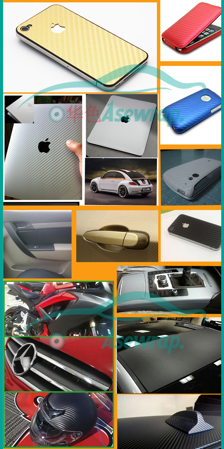 10/20/30/40/CMx127CM high quality retail 3D Carbon fiber vinyl 3D film car sticker for Car wrapping free shipping