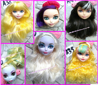 Free shipping New Arrival 10pcs/lot DIY Toy Accessories doll heads For monster toys high doll,heads for ever doll,gift for girl(China (Mainland))