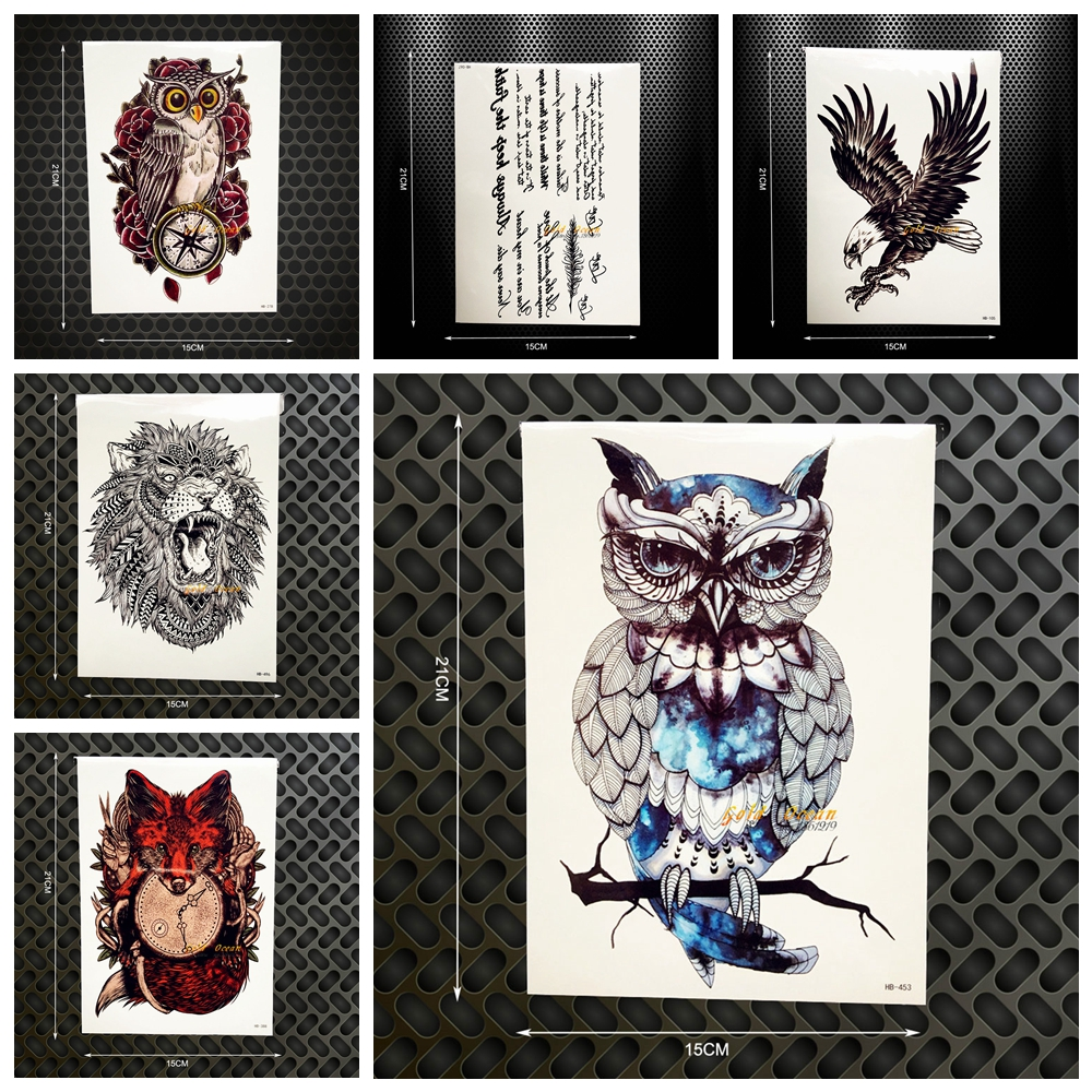 Hot Wolf Design Temporary Tattoo Dreamcatcher Indian Black Feather