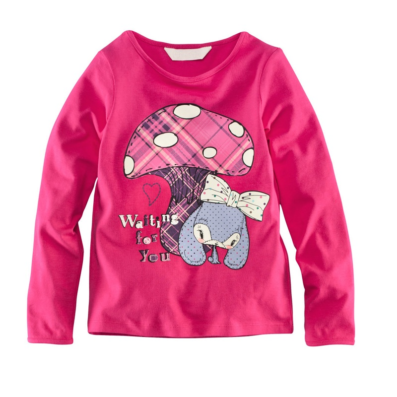 Mushroom Pink Baby Girls Clothes T-Shirts Long Sleeve Cotton Girl T Shirts Tops Children Tees Shirts Kids jersey outerwear(China (Mainland))