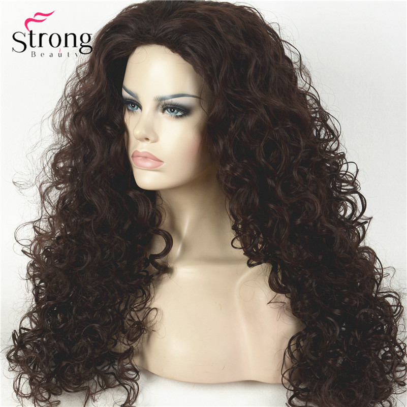 D0210A 2-33 Dark Brown Curly Afro Full Synthetic Wig Wigs(2)