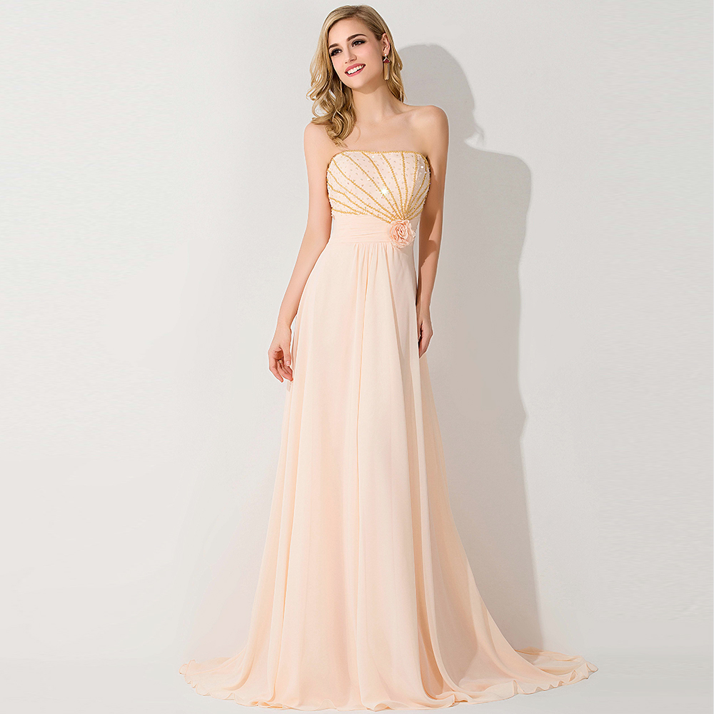 Light orange beaded long chiffon bridesmaid dresses 2015 for Maid of honor wedding dresses