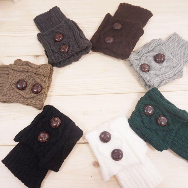 1 пара мода женщины женский зима гетры гетры носок кнопка крючком трикотажные загрузки ...