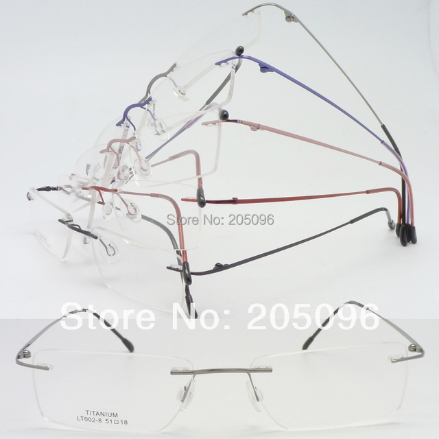 LT002 wholesale rimless bendable supper lightweight with hinge Beta titanium IP coating eyeglasse frame free shipping wholesale
