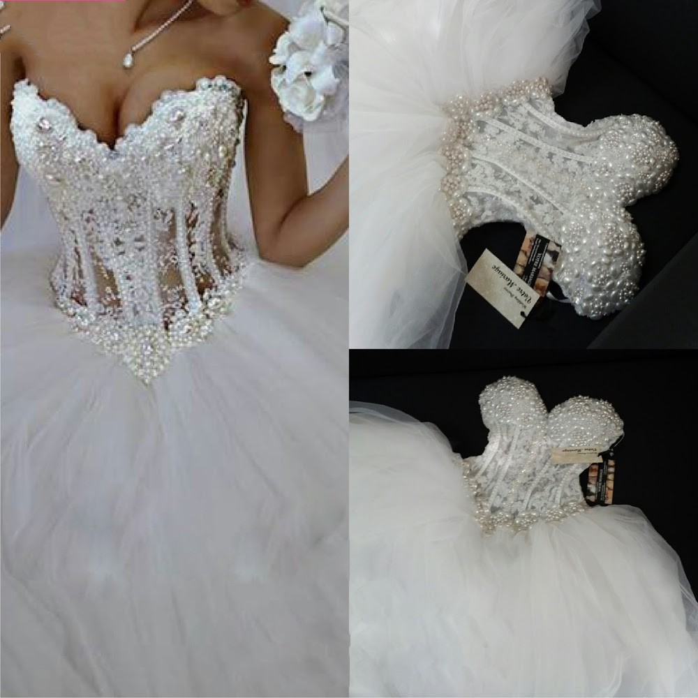 Vintage Ball Gown Wedding Dresses Corset Crystal Pearls ...