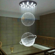 Modern Design Double Spere Ball LED K9 Crystal Chandelier Stairecase Big Lighting Fixture(China (Mainland))