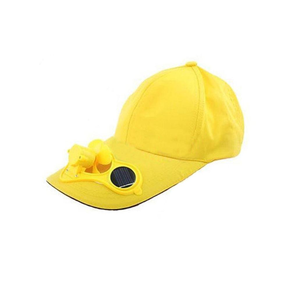 Best&Top Yellow Solar Powered Air Fan Cooled Baseball Hat Camping Traveling(China (Mainland))