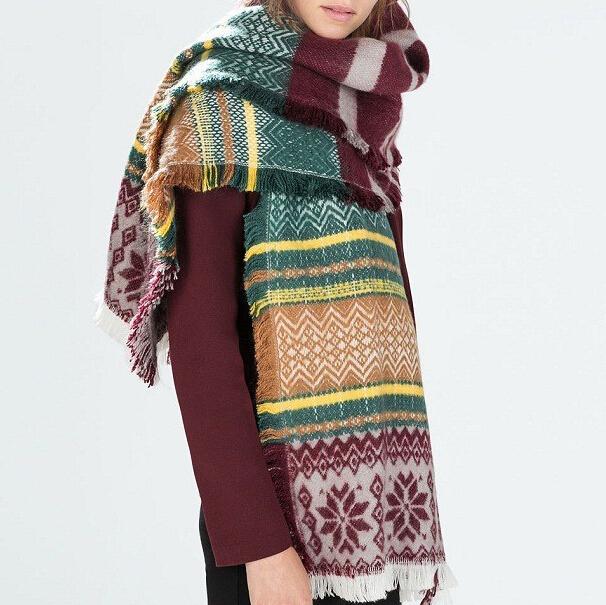 Ретро снежинка цветной шарфы толстый негабаритных мохер смесь воротником подарок на новый год W1037