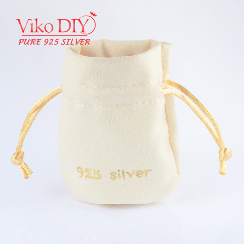 "10pcs/lot Wholesale Sterling Silver Jewelry Pouch Stamp ""925 Silver"" Velvet Pouch Diy Viko Jewelry DZ-148(China (Mainland))"