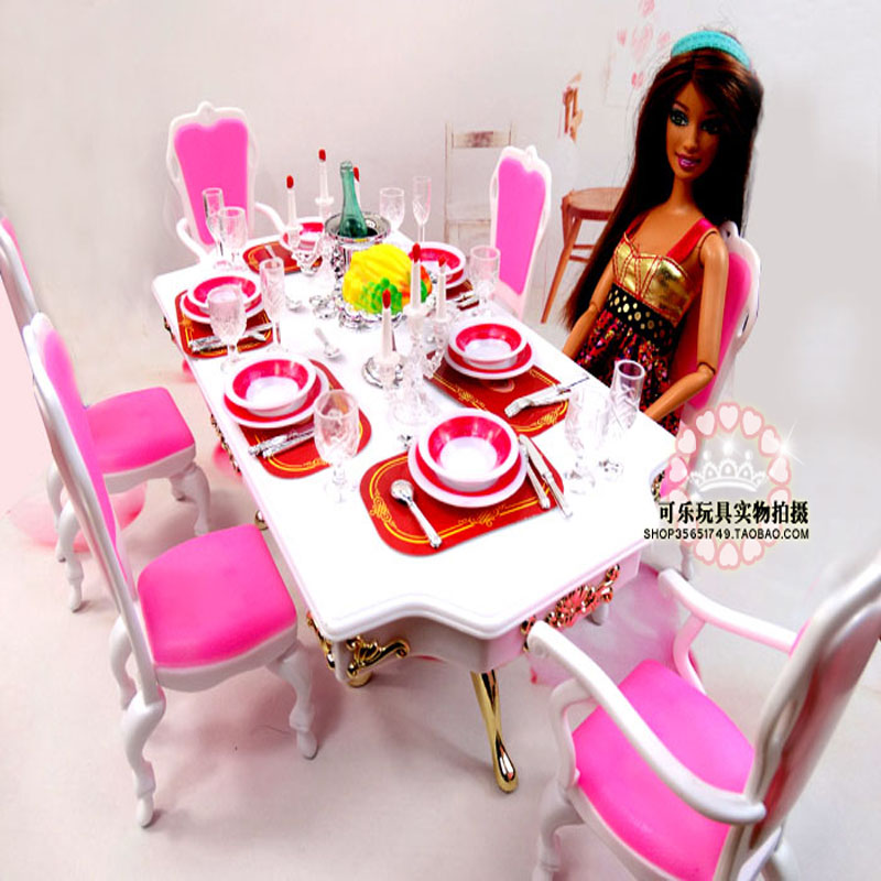 Pink Dinner Table Chair Set / Dollhouse Dining Room Accessories Girl's toy Furniture with Saucer for Barbie Kelly Doll Gift(China (Mainland))