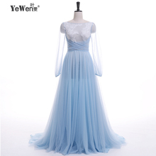Luxury see through Evening Dress blue backless V Neck Cheap Evening Gowns Long Sleeve Prom Party Formal Dresses Robe De Soiree(China (Mainland))