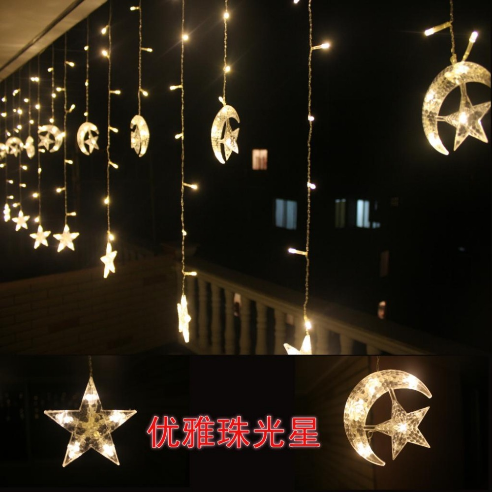Star Moon String Lights : 4m 220v 8mode 160 Led sting Curtain lights moon and star shape String Christmas Wedding lights ...