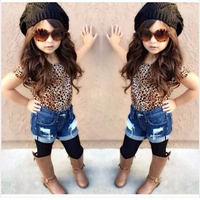 2015 New Brand Baby Girls Clothing Set Kids Cotton Leopard T-Shirt+ Jeans Shorts 2pcs Summer Kids Clothes Children's Outfits(China (Mainland))