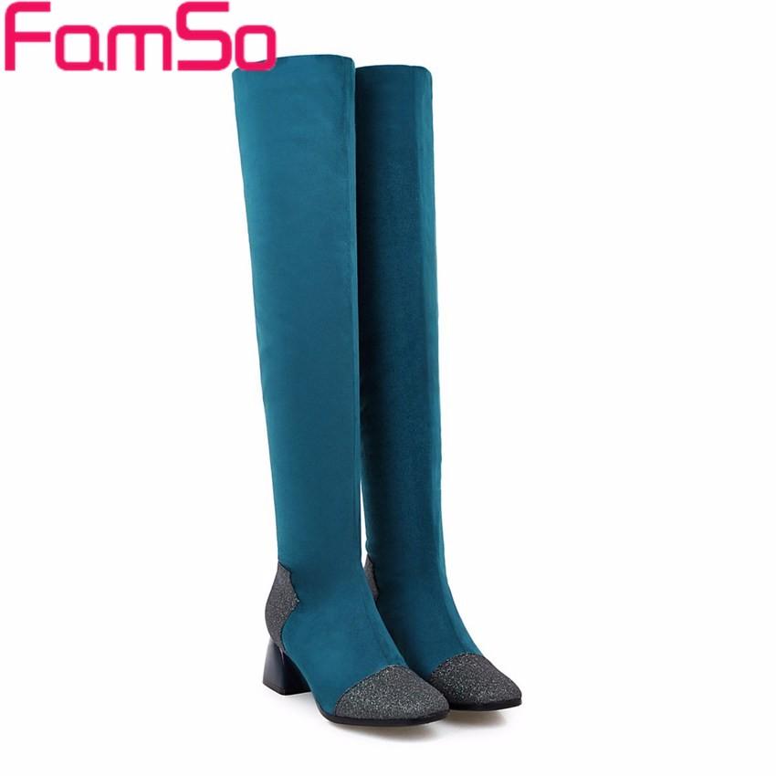 ซื้อ ขนาดใหญ่34-43 2016รองเท้าผู้หญิงแฟชั่นใหม่สีดำสีฟ้าฤดูใบไม้ร่วงฝูงกว่าเข่าบู๊ทส์ออกแบบฤดูหนาวรองเท้าหิมะSBT4188