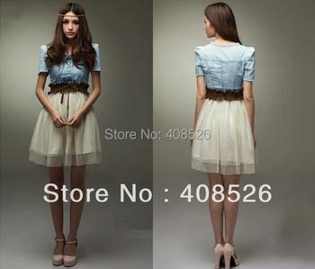 New 2014 Summer Women Vintage Jean Dresses Party Denim Dress Retro Girl Blue Top White With Belt High Quality b7 3664