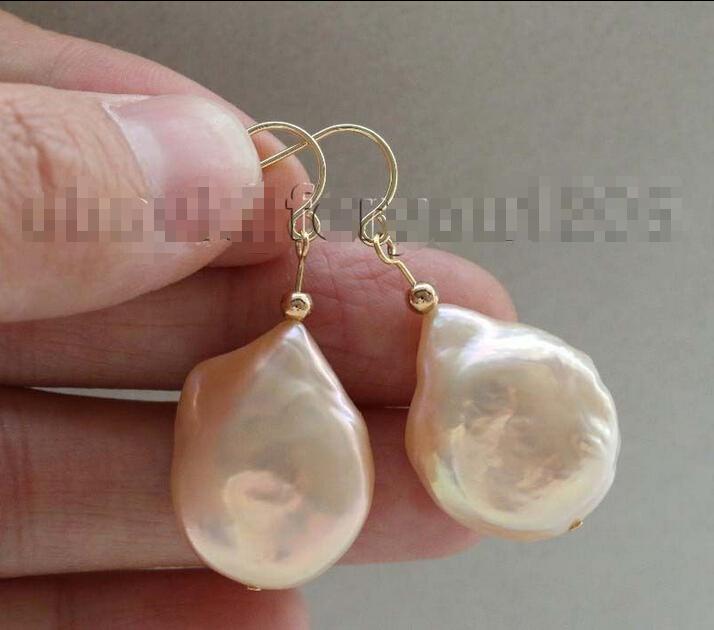 Free shipping &gt;&gt;&gt;&gt;&gt;&gt;Genuine Natural 25mm Pink Baroque Reborn Keshi Pearl Earrings 14k #f2056!<br><br>Aliexpress