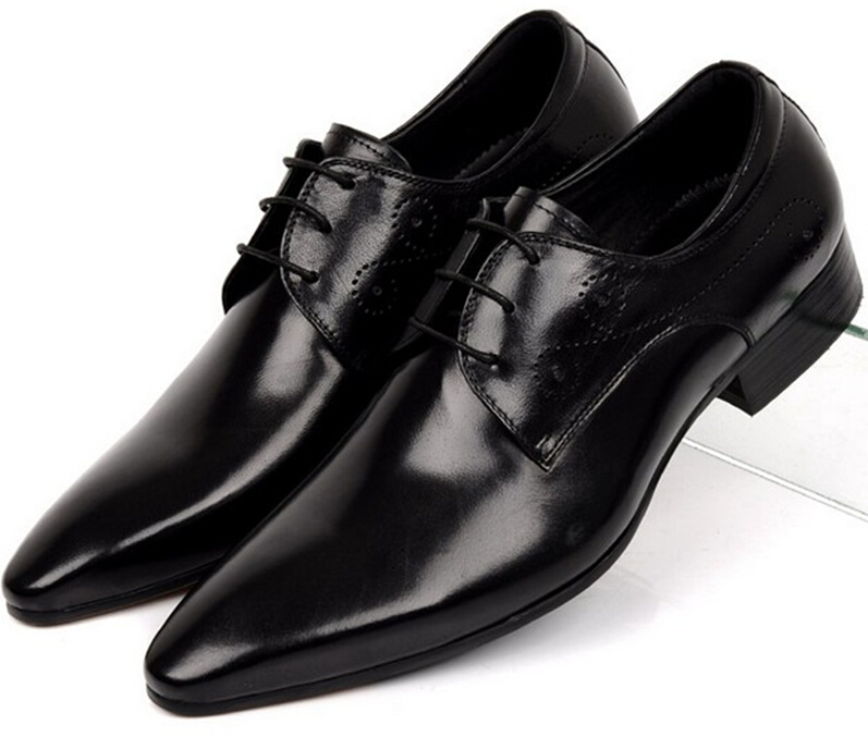 fashion bridegroom wedding shoes flats black pointed toe genuine leather dress shoes men casual business shoes<br><br>Aliexpress