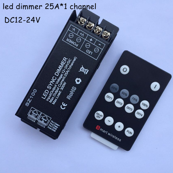 1pcs 300w dc12v 24v rf wireless max 25A diy led dimmer remote controller to control single color strip light smd 3528 5050 5630(China (Mainland))